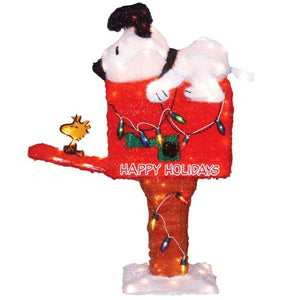 3-D Soft Lighted Tinsel Yard Art - Snoopy On Animated Mailbox