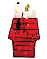 3-D Soft Lighted Tinsel Yard Art - Snoopy's Christmas Doghouse