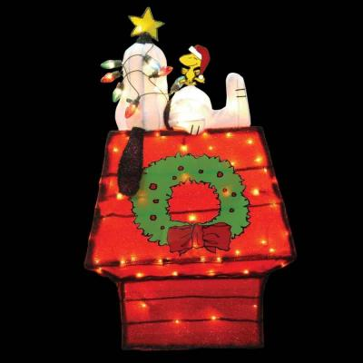 3-D Soft Lighted Tinsel Yard Art - Snoopy On Doghouse With Wreath