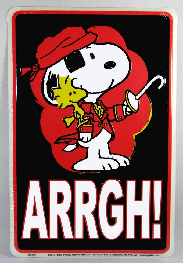 Snoopy Tin Wall Sign - Pirate