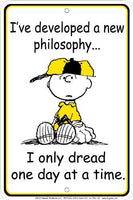Charlie Brown Tin Wall Sign - A New Philosophy