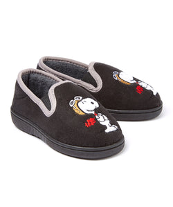 Flying Ace Micro-Suede Toddler Slippers (Black)