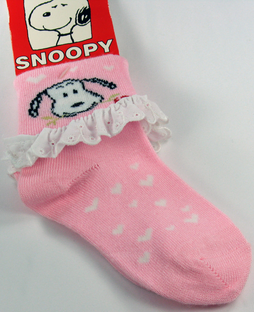 Toddler Crew Length Snoopy Socks With Eyelet Trim - Size 7-9