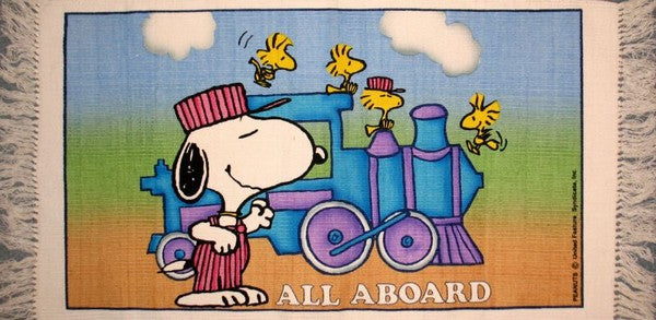 Snoopy Train Engineer Cotton Rug - All Aboard