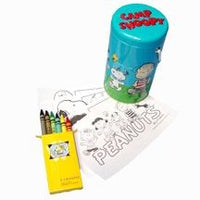 Camp Snoopy Twist Can + Coloring Papers and Crayons
