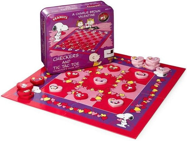 A Charlie Brown Valentine Checkers and Tic Tac Toe Set in Tin