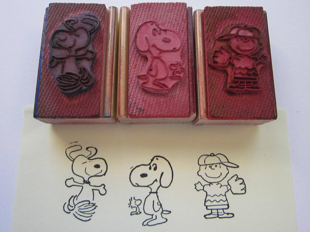 Peanuts Vintage Rubber Stamp With Wood Handle