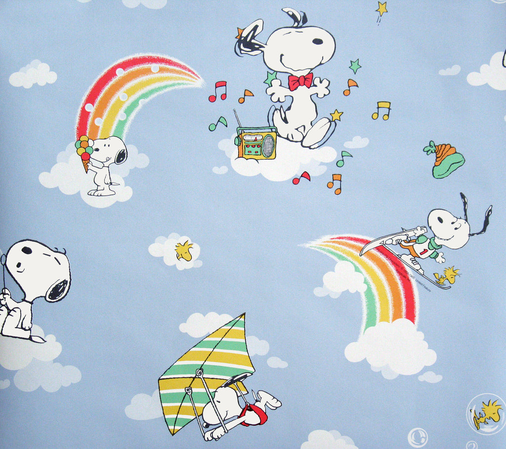 Rainbow Snoopy Extra Long/Double Roll Vinyl-CoatedWallpaper (Twice The Length Of Standard Roll!)