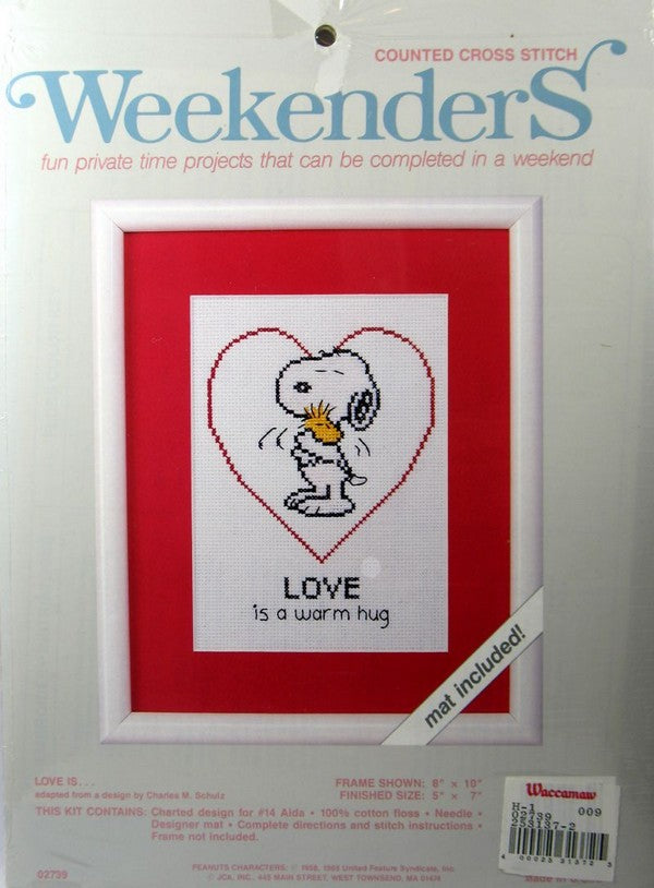 Snoopy Cross Stitch Kit - Love Is A Warm Hug