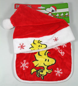 Baby's 1st Christmas Velour Hat and Bib Set -- Woodstock