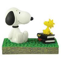 Bus Stop Mini Figurine - Snoopy and Woodstock