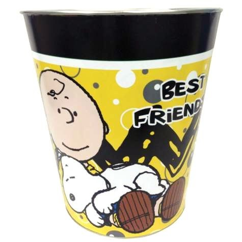 Charlie Brown and Snoopy Best Friends Tin Trash Can
