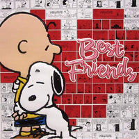 Charlie Brown and Snoopy Embossed Tin Wall Decor - Best Friends