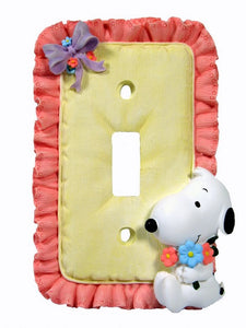 2-D Baby Snoopy Pink Ruffles Switch Plate Cover