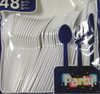Colored Party Utensils - Knives, Spoons, and Forks - WHITE
