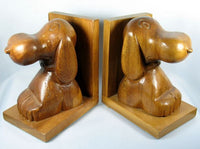 Snoopy Hand-Carved Wood Book Ends - Made in Philippines