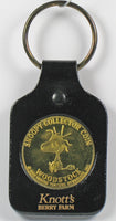 Knott's Berry Farm Woodstock Brass Coin and Leather Key Ring