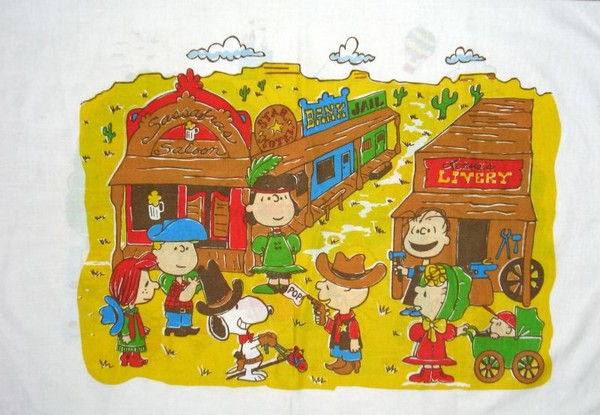 Vintage Peanuts Gang Pillow Case - Wild West/Space Ships