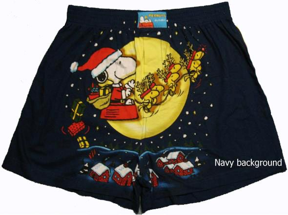 Snoopy and Woodstock Christmas Boxers