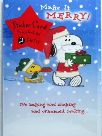 Snoopy Santa Christmas Card + 2 Sticker Sheets