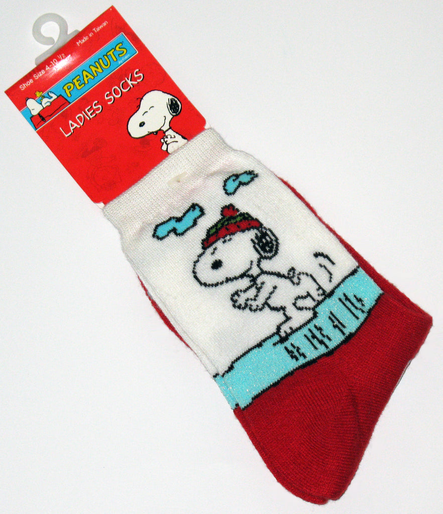 Snoopy Skater Crew-Length Socks With Glitter Accents