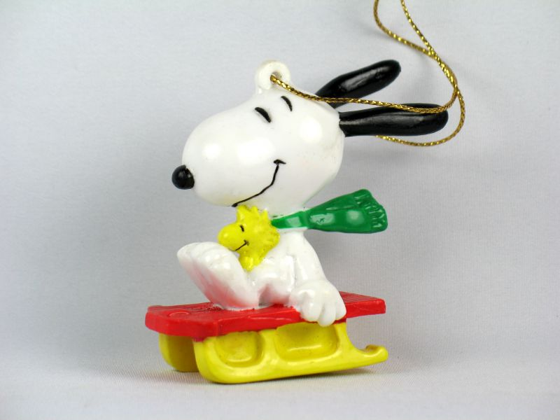 Snoopy and Woodstock On Sled PVC ornament