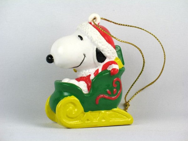Snoopy Santa In Sleigh PVC Ornament