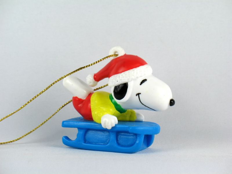 Snoopy On Sled PVC Ornament