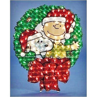 Charlie Brown & Snoopy Wreath Lighted Yard Art