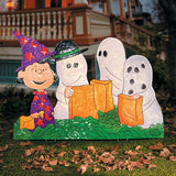 Peanuts Gang Halloween Hammered Metal Yard Art - Trick Or Treat (3 Feet Wide!)