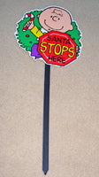 Charlie Brown Christmas Yard Sign / Wall Decor - Santa Stop