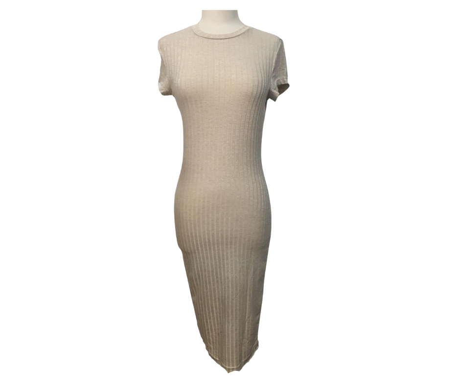 Simply Beige Ribbed Dress