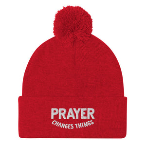 Load image into Gallery viewer, Steve Harvey Beanie Prayer Changes Things Red