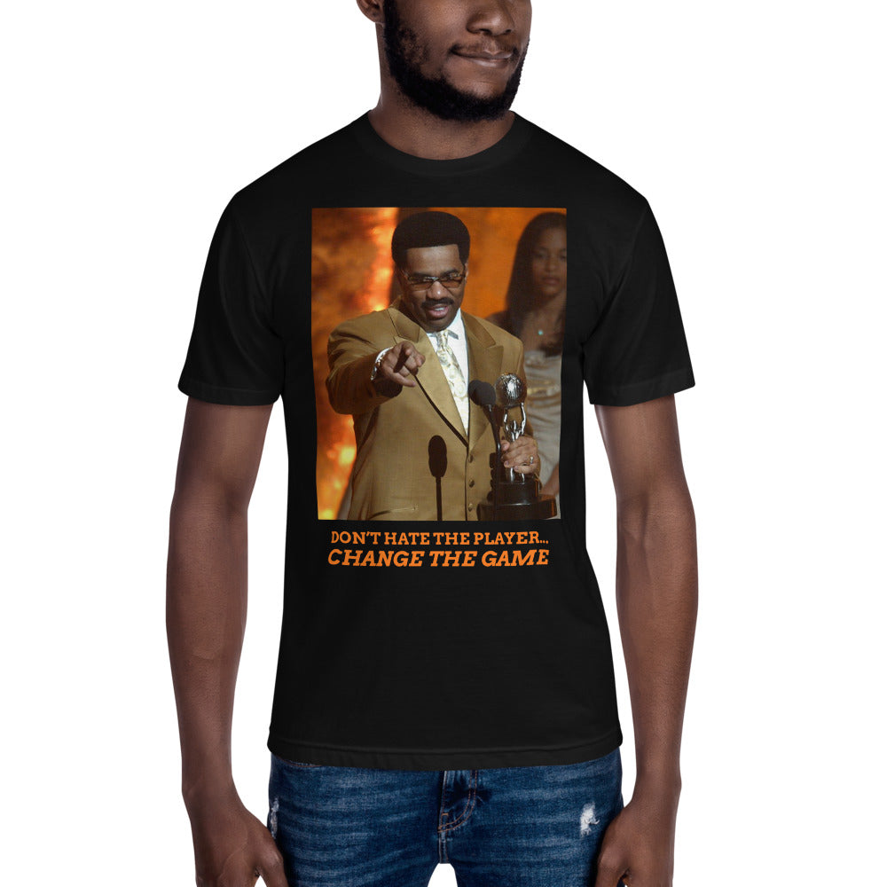 Load image into Gallery viewer, Don't hate the player Steve Harvey black T- Shirt