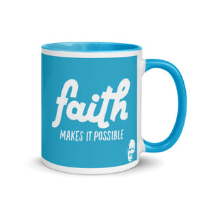 Load image into Gallery viewer, Faith Makes it Possible Steve Harvey Coffee Cup Blue