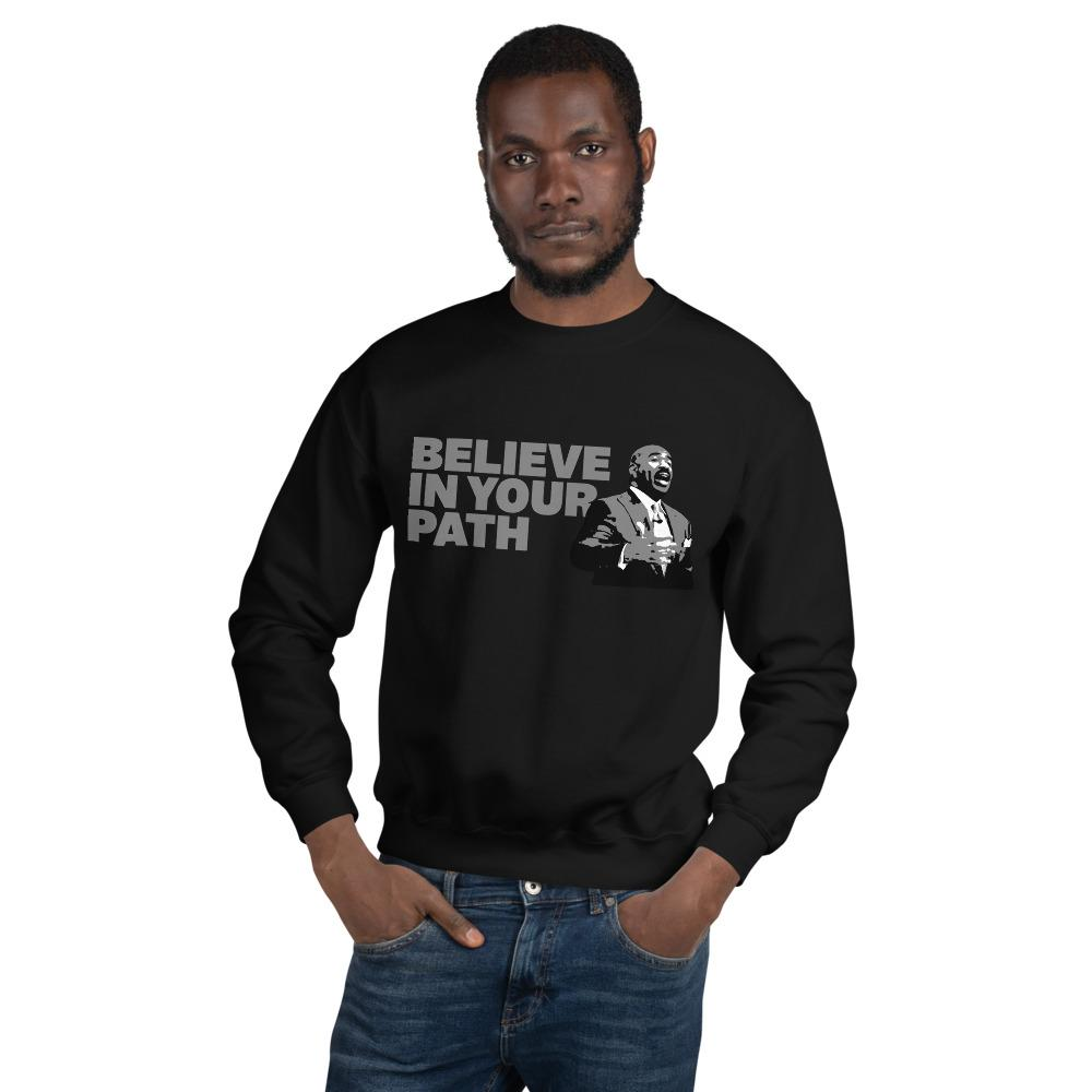 Load image into Gallery viewer, Believe in Your Path Grey Script Sweatshirt