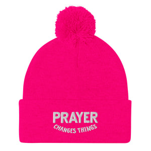 Load image into Gallery viewer, Steve Harvey Beanie Prayer Changes Things Hot Pink