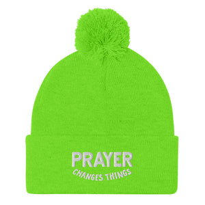 Load image into Gallery viewer, Steve Harvey Beanie Prayer Changes Things Green