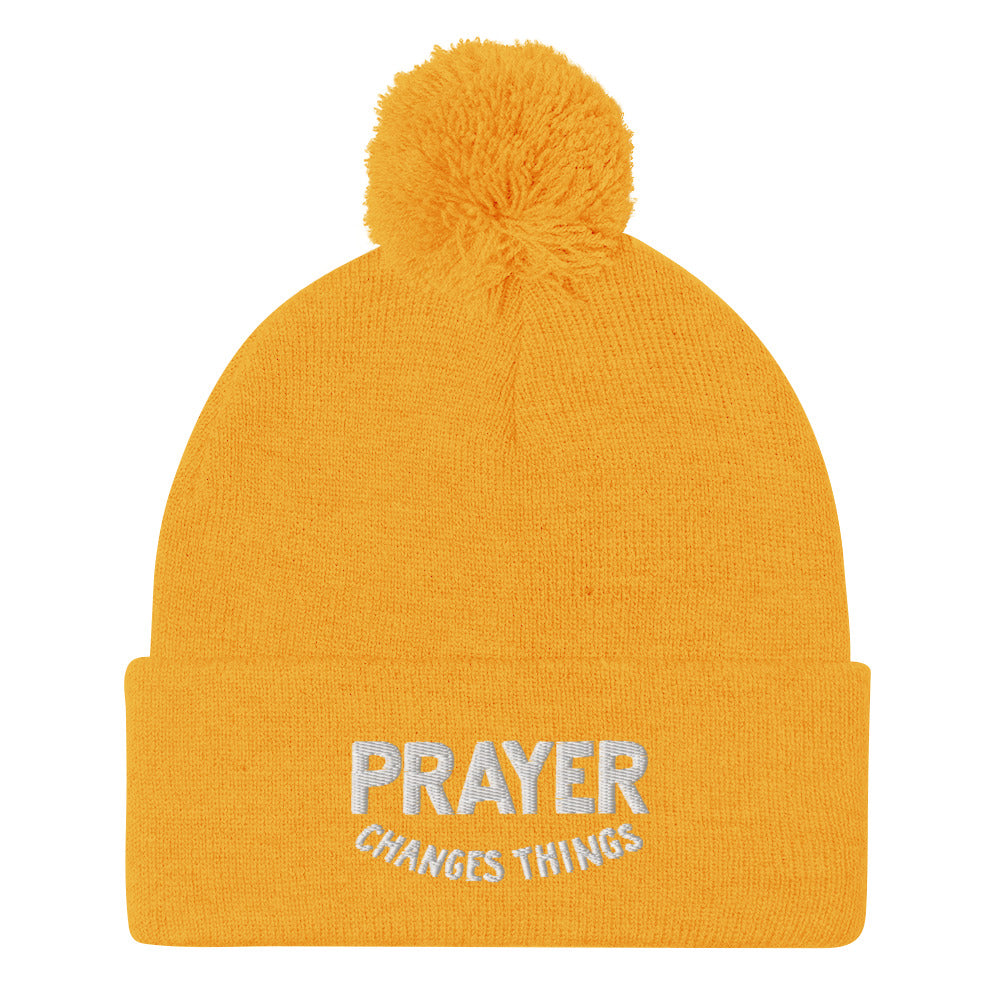Load image into Gallery viewer, Steve Harvey Beanie Prayer Changes Things Yellow