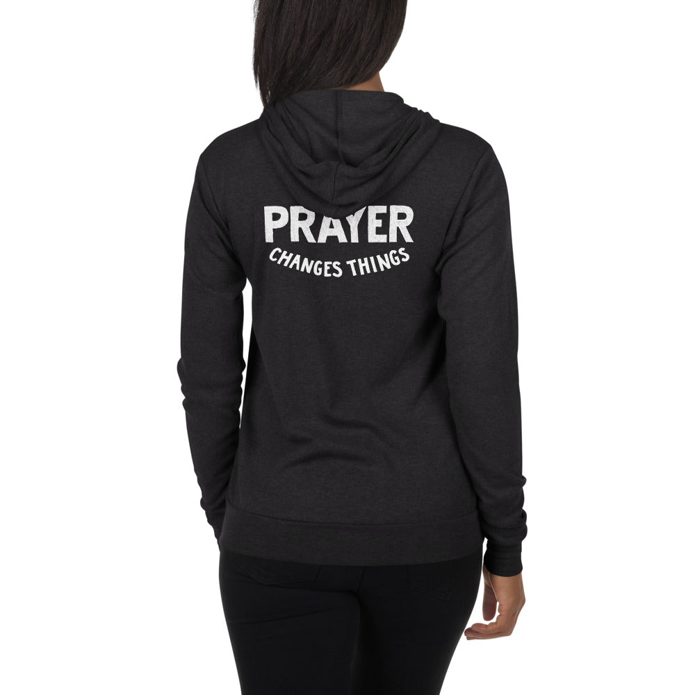 Load image into Gallery viewer, Prayer Changes Things Lightweight Unisex Zip Hoodie