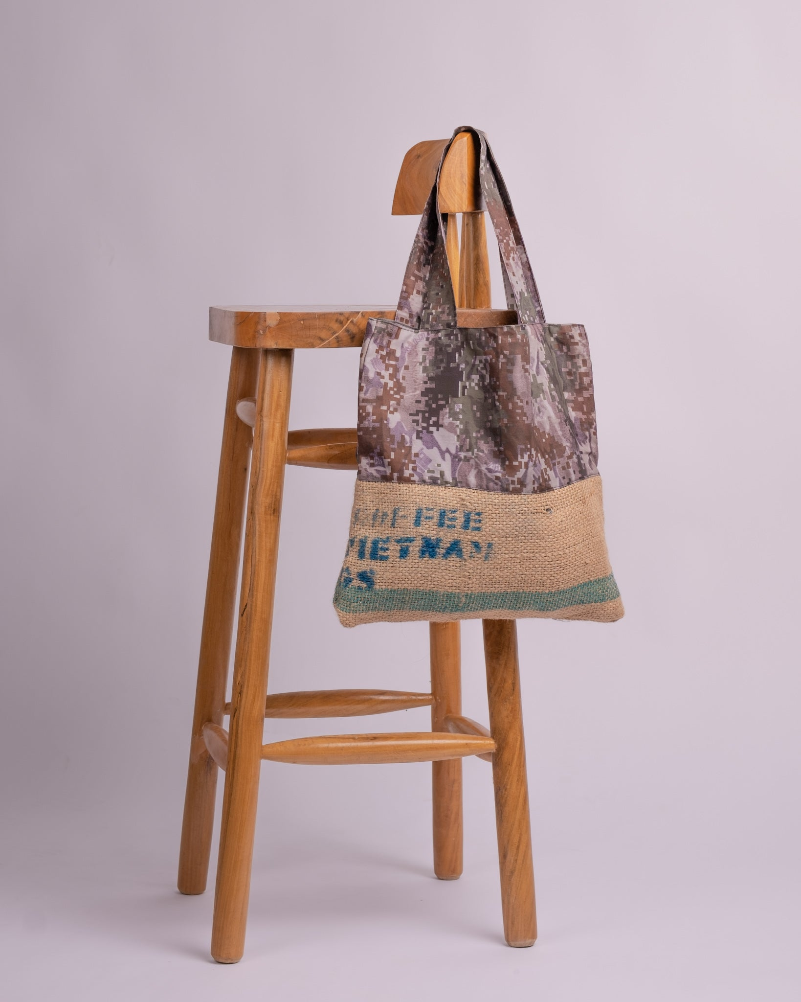 Grey Coffee Camou Reversible Tote Bag