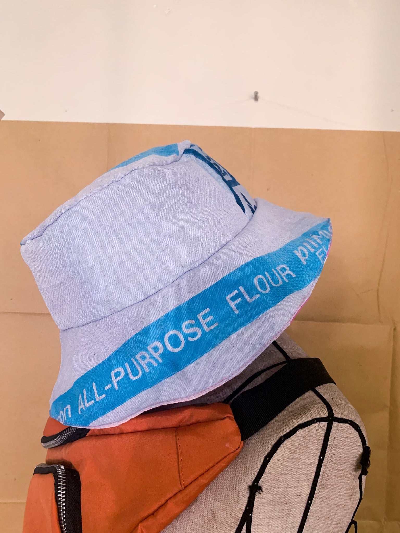 REVERSIBLE BUCKET HAT - Kurtina x Flour Power Retaso Combo (Blues + Browns)