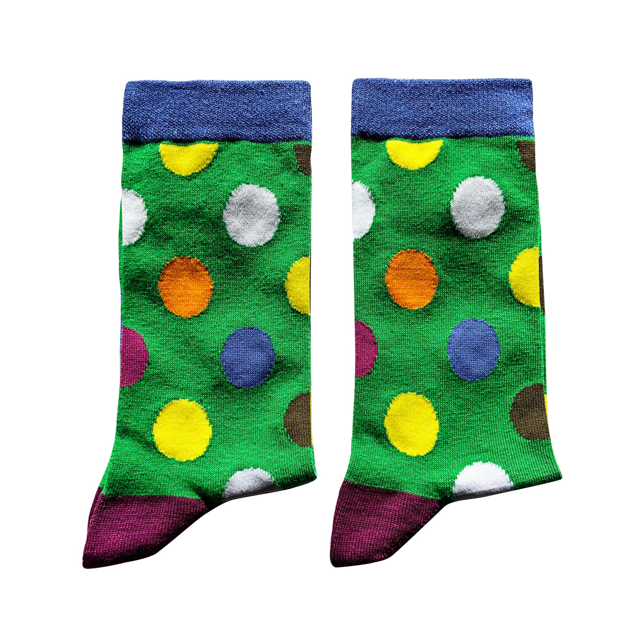 Jolly Soles Green with coloured dots socks