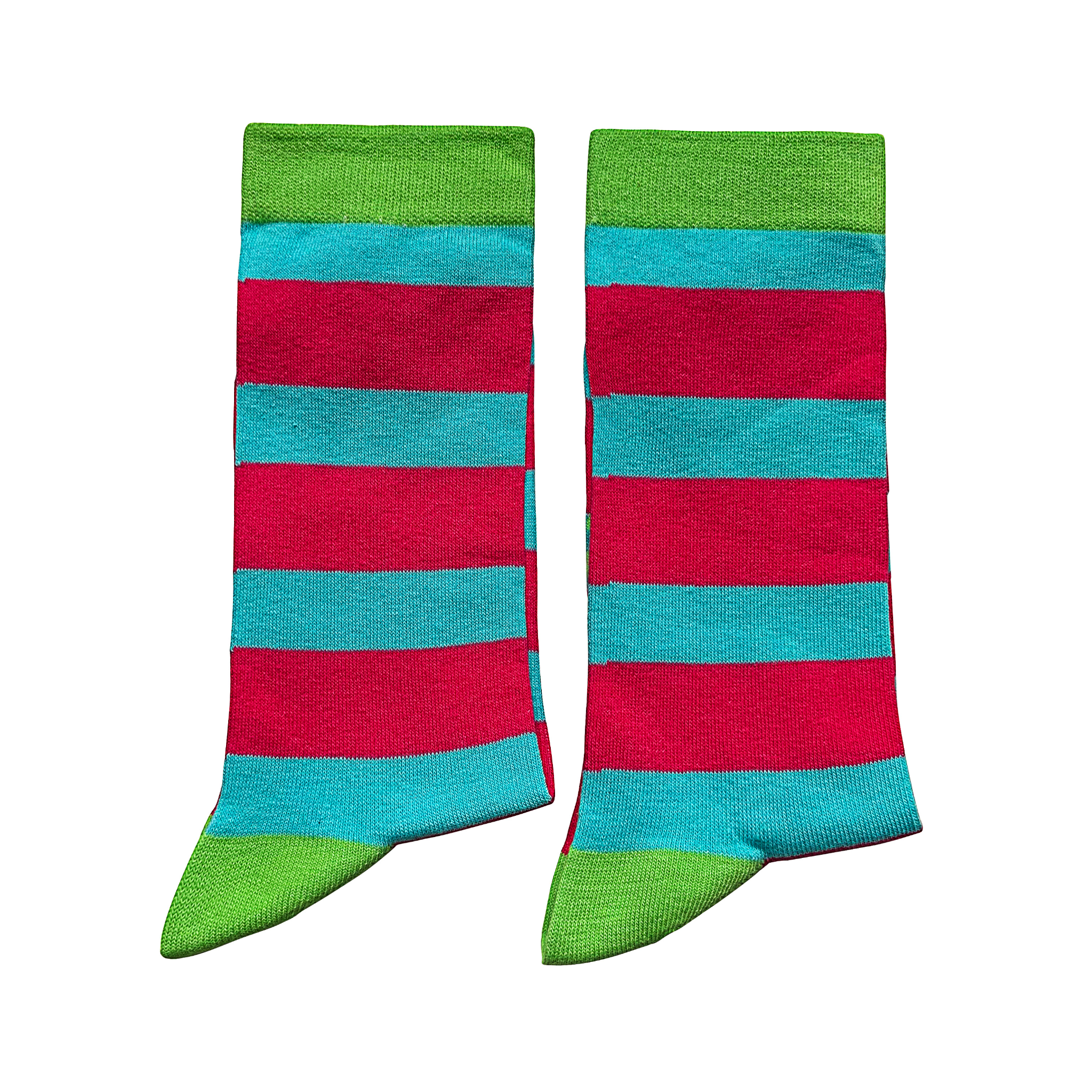 Jolly Soles Striped Blue and Pink Crew Socks Medium