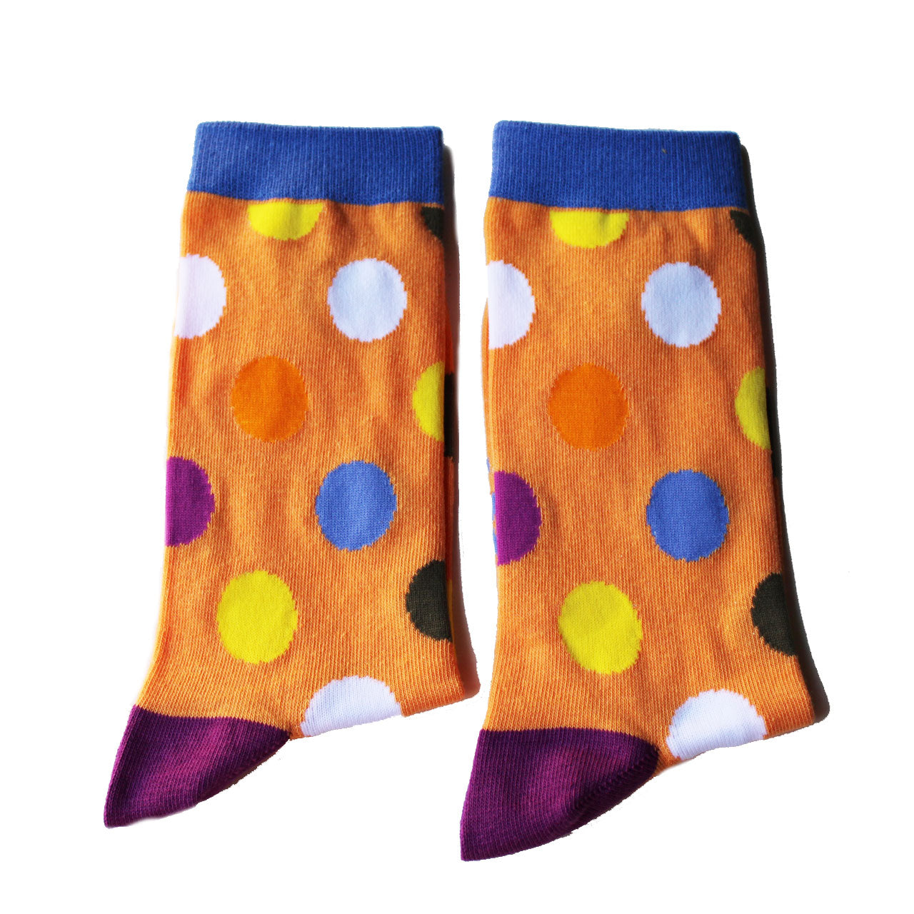 Orange socks with coloured dots, all sizes available