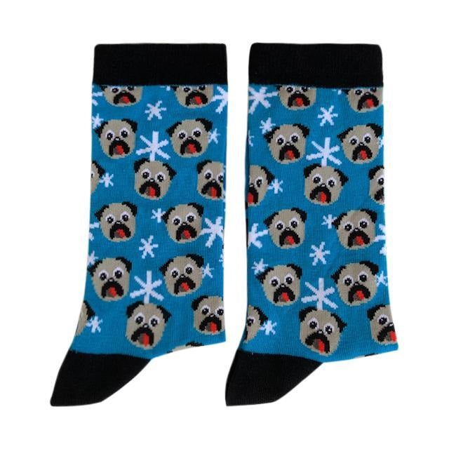 Patterned - Pug socks Blue