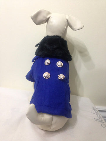 Blue Pea Coat with Removable Trim