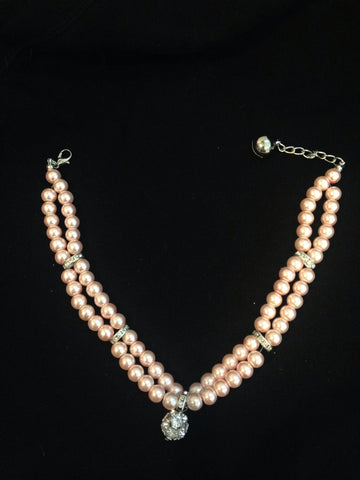 Double Row Pearl Collar With Rhinestone Drop