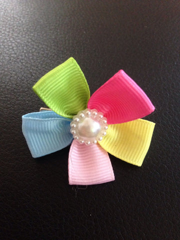 Flower Hair Bow with Pearl