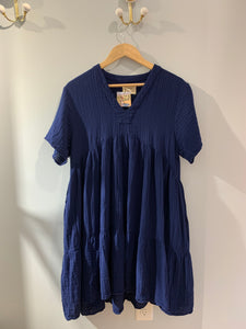 Navy cotton gauze tiered dress